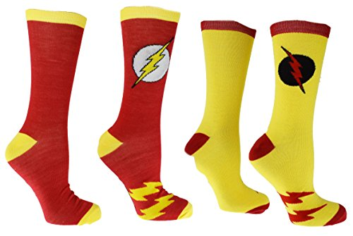 [•	DC Comics Flash Reverse Flash 2 Pack Casual Crew Socks,Multi Colored, Fits Shoe size-6-12] (Dc Comics Halloween)