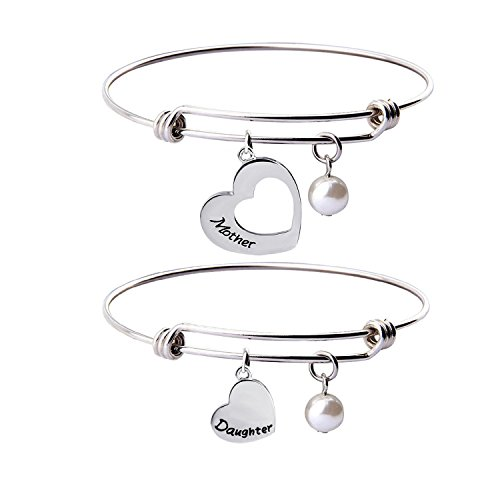 Daughter Bracelet Set (Mother Daughter Bracelet Set of 2 Matching Heart Mom and Me Jewelry (Mother daughter bangle set))