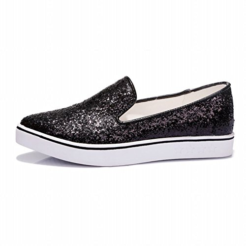 Carolbar Womens Shiny Sequins Bling Bling Pointed Toe Fashion Casual Comfort Loafer Flats Black rXMkxLQihU