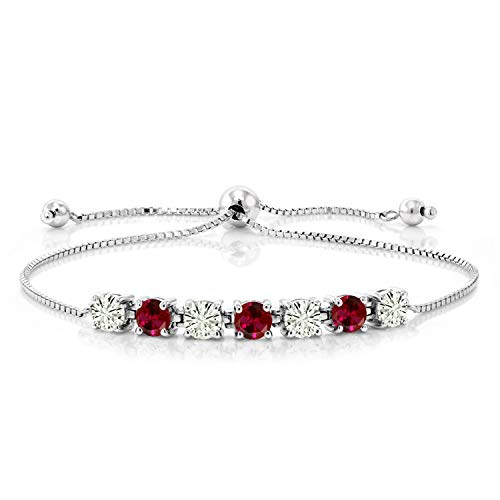 925 Sterling Silver Bracelet Forever Classic Round 1.32ct (DEW) Created Moissanite by Charles & Colvard and Created - Clean Bracelet Silver