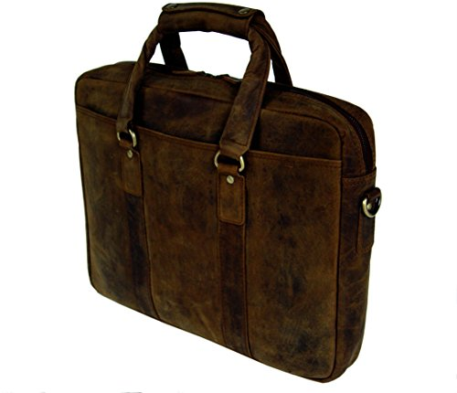 BASIC GEAR Full Grain Leather Messenger Bag Laptop Briefcase in Vintage Rustic look by Basic Gear (Image #3)