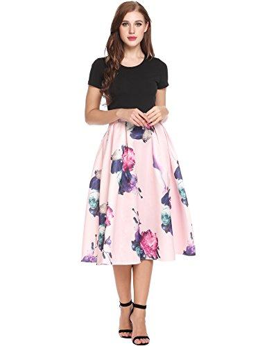 c99759506e ACEVOG Women s Vintage 1950s Short Sleeve Party Rockabilly Swing Dress A  Line Flower Tea Dresses