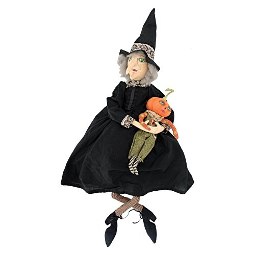 Doll Halloween Witch (Gallerie II Gathered Traditions Marleigh Witch and Pumpkin Collectible Figurine, Black)