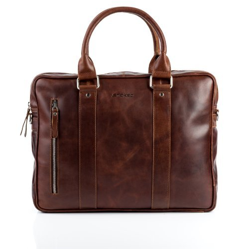 STOKED briefcase NATHAN - shoulder bag leather tan-cognac - leather bag with shoulder (Cognac Leather Briefcase)