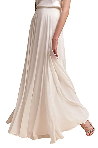 (Omelas Women Long Floor Length Chiffon High Waist Skirt Maxi Bridesmaid Pary Dress (Ivory, M))