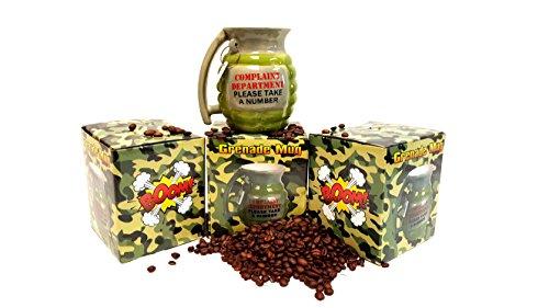 Grenade Shaped Mug, Novelty Gag Gift Mug, Ceramic Mug (1) (Shaped Novelty Mugs)