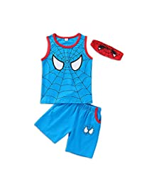 Happy angel Baby Boys Superhero Outwear Spider-Man Spidey Tank Top & Shorts 2 Piece Summer Outfit