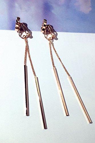 Star s925 Sterling Silver Four-Leaf Clover Earrings Earring Dangler Eardrop Fashion Needle Unique Creative Long Women Without Pierced Ear Clip Gift Woman Tassel Wire (Rose Gold Ear Clips