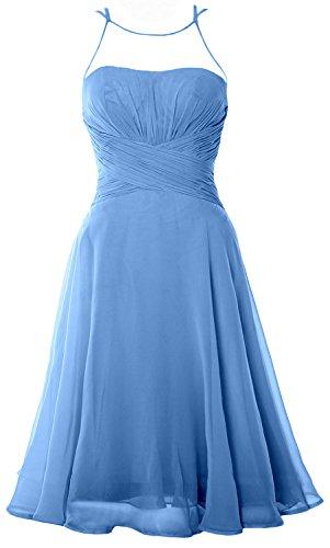 MACloth Women Halter Lace Short Bridesmaid Dress Wedding Party Cocktail Gown (EU38, Gris)