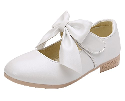 Kikiz Girls Leather Dress Ballet Mary Jane Bow Slip On Flat Shoes (Toddler/Little Kids) (Toddler White Dress Girls Shoes)
