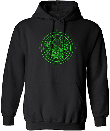 Joe's USA Koloa Surf Octopus Logo Hoodie, Hooded Sweatshirt-M-Black/Green (Octopus Sweatshirt)