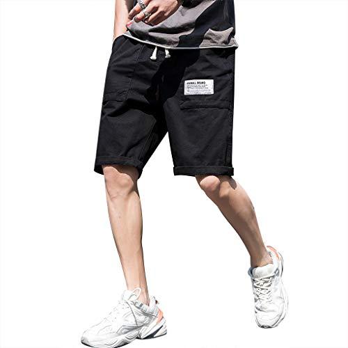 32' Rotating Hook - Men's Summer Casual Pure Color Loose Multi-Pocket Beach Calf-Length Sport Pants, Mmnote Black