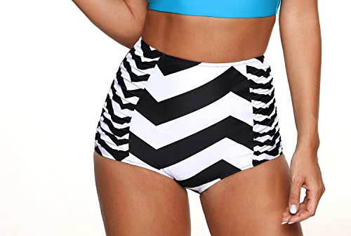 Zebra Black and White Vintage Retro High Waisted Bikini Bottom-BX030-ZB4