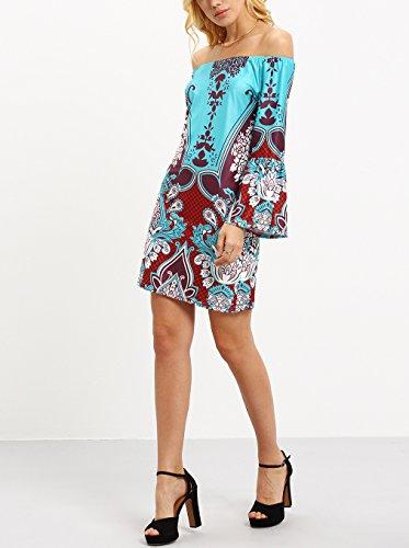 Mesdames Robes Chemise Manche Longue Imprimée Soiree Jupe Chic Courte Vintage Robes D'Été Robes Casual