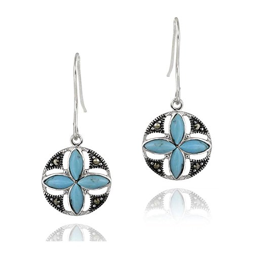 (Sterling Silver Turquoise & Marcasite Flower Dangle Earrings)