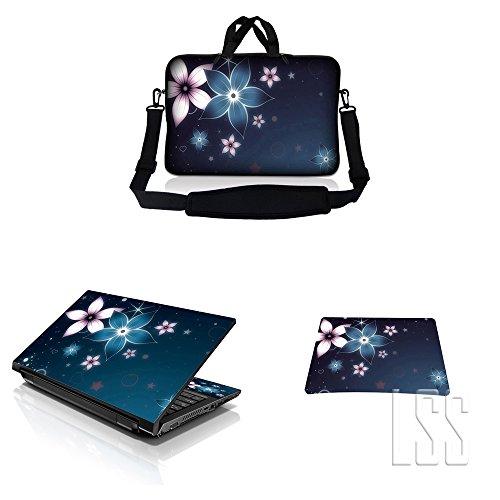 "Laptop & Macbook PRO Sleeve Bag Carrying Case w/ Handle & Adjustable Shoulder Strap & Matching Skin Sticker & Mouse Pad Fits 12"" 12.1"" 13"" 13.3"" Plumeria Flower Floral"
