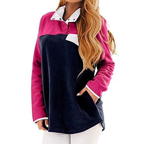 Poche shirt Manches Rose Bouton Chaud Sylar Casual Des 2018 Blouse Sports Épaisse Confortable Automne Tops Longues Couleur De Contraste Femmes Simple Sweat zgw7Pz81q