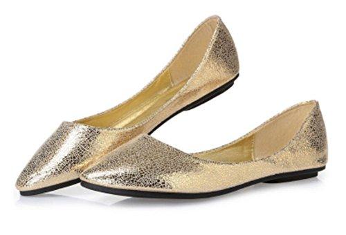 Kvinna Tillfälliga Loafers Balett Slip På Komfort Platta Skor Guld