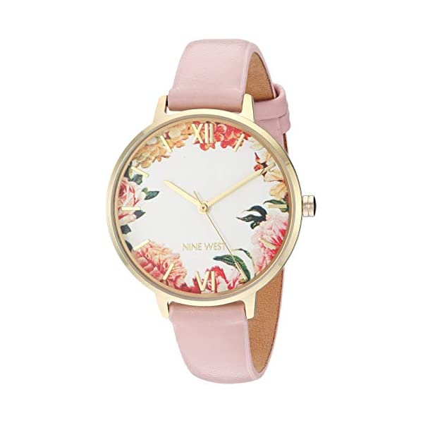 Nine West Women's Rose Gold-Tone and Grey Strap Watch, NW/2348FLGY