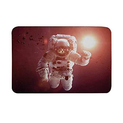 TecBillion Space Cat Non Slip Door Mat,Pet Cat in Outer Space Planet Meteors Galaxy with Astronaut Suit Floor Mat for Bathroom Living Room,23