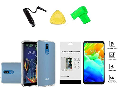 for LG Solo LTE (2019) L423DL TPU Flexi Gel Skin Cover Phone Case + Tempered Glass Protector + Extreme Band + Stylus Pen + Pry Tool (Clear) ()