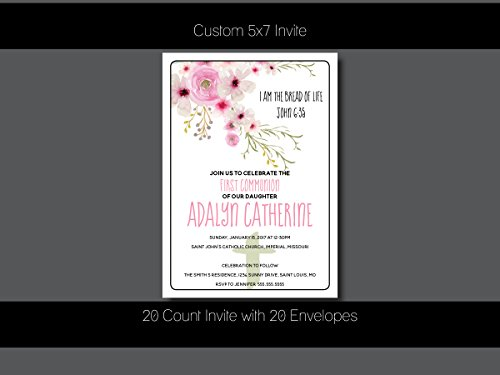 Custom First Communion Invitation - Boho, Floral, First Communion, Baptism,Confirmation, Christening - Personalized (20 ()