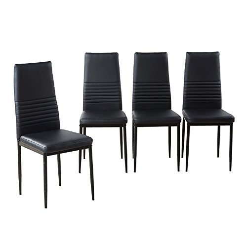 Modern Desk Chair, Dining Side Chairs Set of 4, Upholstered Cushion Black PU Leather High Back Chairs with Sturdy Metal Legs for Home Dining & Kitchen Room (Back Chair Dining Set)