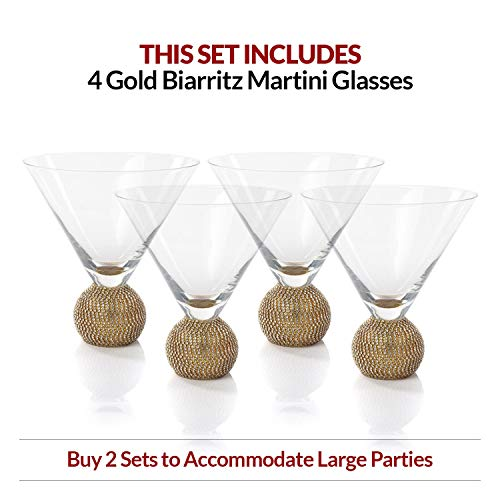 IMPULSE! Diamond Gold Martini Glasses, Set of 4 -