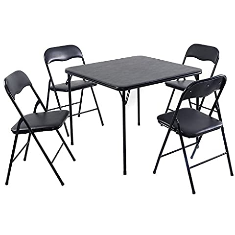 Giantex 5PC Black Folding Table Chair Set Guest Games Dining Room Kitchen Multi-Purpose - Black Poker Game Table