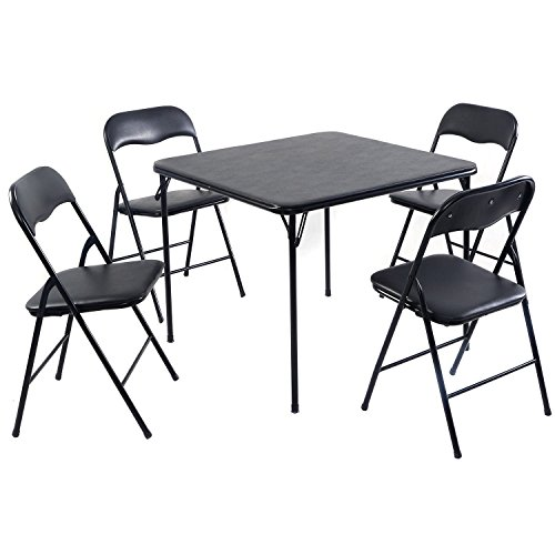 Giantex 5PC Black Folding Table Chair Set Guest Games Dining Room Kitchen Multi-Purpose (And Tables Room Chairs Game)