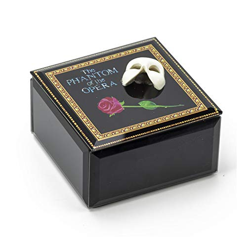(Mask and Rose Glass Music Box from Phantom of The Opera - Over 400 Song Choices - Memory (Andrew Lloyd Webber, Cats) - Swiss)