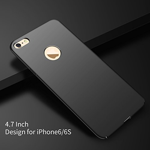 IPhone 6 Case, iPhone 6S Case, Ultra Slim Sleek Full Protective Matte Finish Hard PC Cover with Rotation Ring Stand Holder+Tempered Glass Screen Protector Thin Case for Apple iPhone 6/ iPhone 6S (Blac