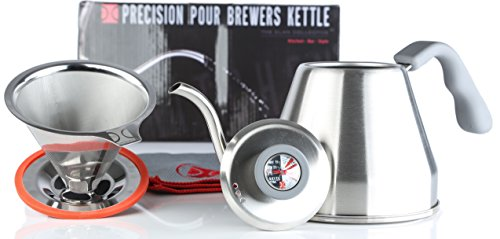 Pour Over Coffee Essentials Brewing Set | Pour Over Brewers Kettle & Stainless Steel Pour Over Coffee Brewer | Directions & Tips Card | Polishing Cloth | Makes 1-4 Cups | by The Elan Collective by The Elan Collective