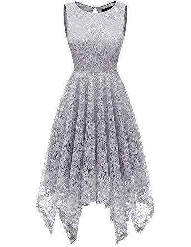 DRESSTELLS Women's Cocktail Floral Lace Handkerchief Hem Bridesmaid Wedding Gown Grey 3XL]()