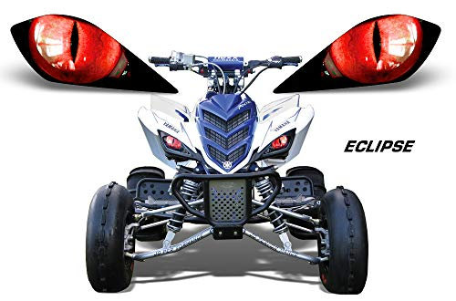 (AMR Racing ATV Headlight Eye Graphic Decal Cover for Yamaha Raptor 700/250/350 - Eclipse (Red))