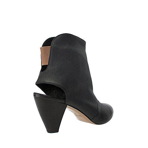 AMANDA GREGORY Black Open Heel Zip Bootie Black g5mE7cRhd