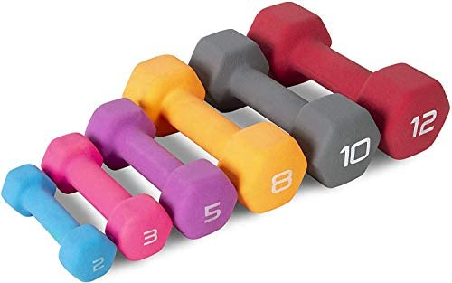 Cap Color Neoprene Dumbbell for Muscle Toning, Strength Building, Weight Loss - Portable Weights for Home Gym Non-Slip and Hex Shape - Sold by Pairs 6