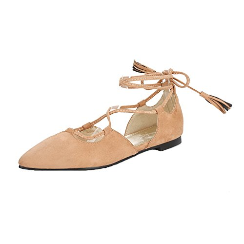 Up Senza Flats AgeeMi Suede da Shoes Ballet Tacco Brown Lace Donna Light Y4BSa