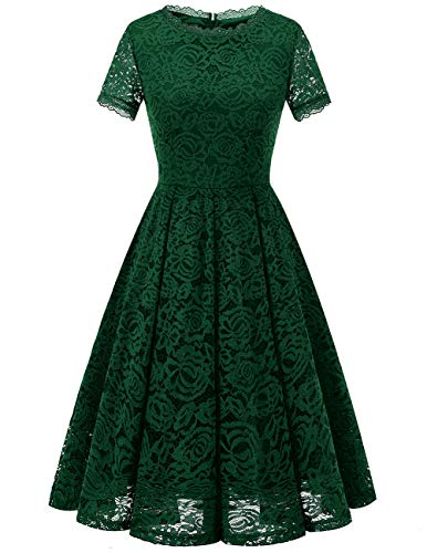 DRESSTELLS Women's Bridesmaid Elegant Tea Dress Floral Lace Cocktail Formal Swing Dress DarkGreen L