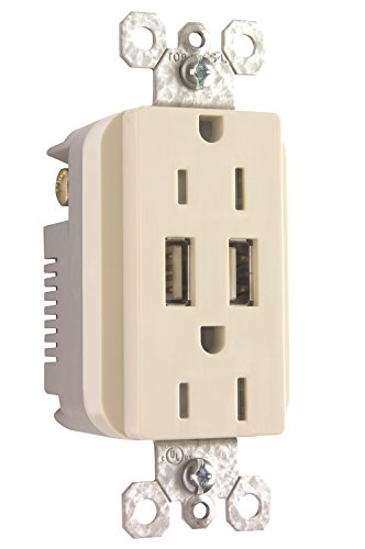 Pass & Seymour TM826USBLACC6 USB Charger Duplex Tamper-Resistant Recepticle, Light Almond
