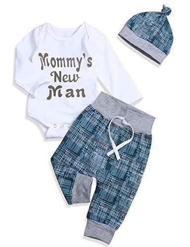 Newborn Baby Boy Clothes Crew Letter Print Romper+Long Pants+Hat 3PCS Outfits Set,Soft Breathable Fabric (F-Blue, 6-9 Months)