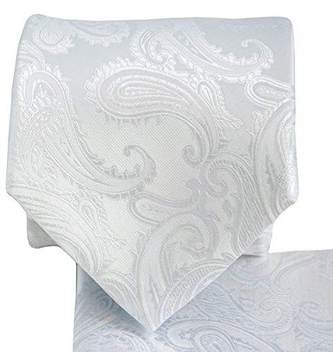 Necktie Set Handkerchief - 3.5 Paisley Necktie Set #600-A-White