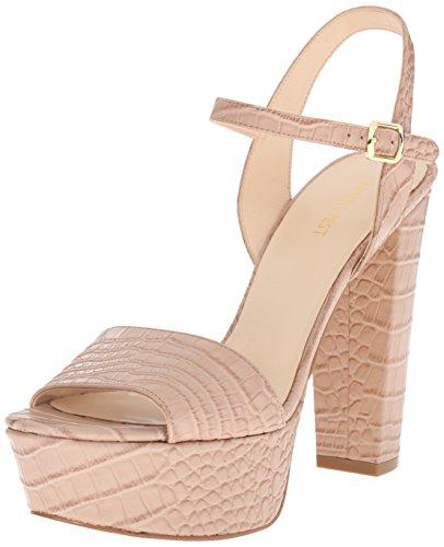 (Nine West Women's Carnation Croco Heeled Sandal, Natural Croco Texture Leather, 10.5 M US )