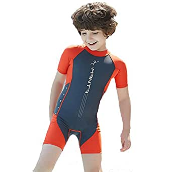 Kingswell Shorty Wetsuit Neoprene Swimsuit for Boys Back Zipper One Piece