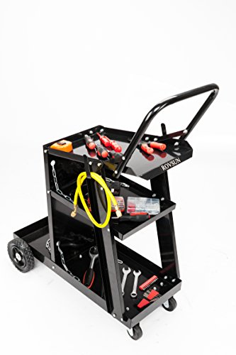 ROVSUN Heavy Duty Welding Welder 3-Level Cart Universal Storage for Tanks MIG TIG ARC Plasma Cutter With 100 LBS Capacity, 360°Silent Wheels, 2 Safety Chains and Powder-Coat Black Finish by ROVSUN