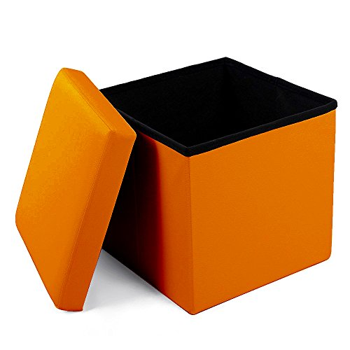Geartist GOO1 Leather Folding Organizer Storage Ottoman Bench Footrest Stool Coffee Table Cube, Camping Fishing Stool, Quick and Easy Assembly, Perfect for Child. ()