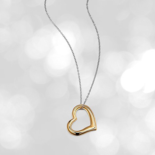 - 18k Yellow Gold Plated Sterling Silver Open Heart Pendant Necklace, 18