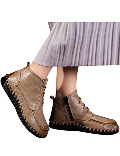 Toe Increasing Shoes Lace Womens Shoes Round Khaki Wedges height Zoulee Leather wEpR0
