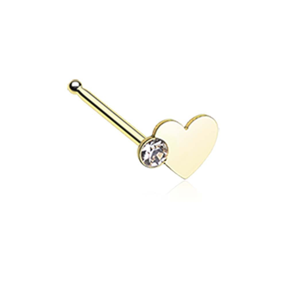 20G - Sold as a Pair 0.8mm Gold Colored Adorable Heart Sparkle Nose Ring