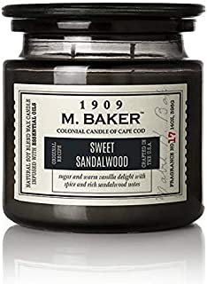 product image for M. Baker by Colonial Candle Scented Apothecary Glass Jar Candle, Sweet Sandalwood, Natural Soy Wax Blend, 14 Oz, Two Premium Cotton Wicks, Single (Green, Woody)